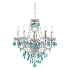 Wilko marie therese ceiling light fitting teal 5 arm decor wilko chandelier 5 arm smoke with teal mozeypictures Choice Image
