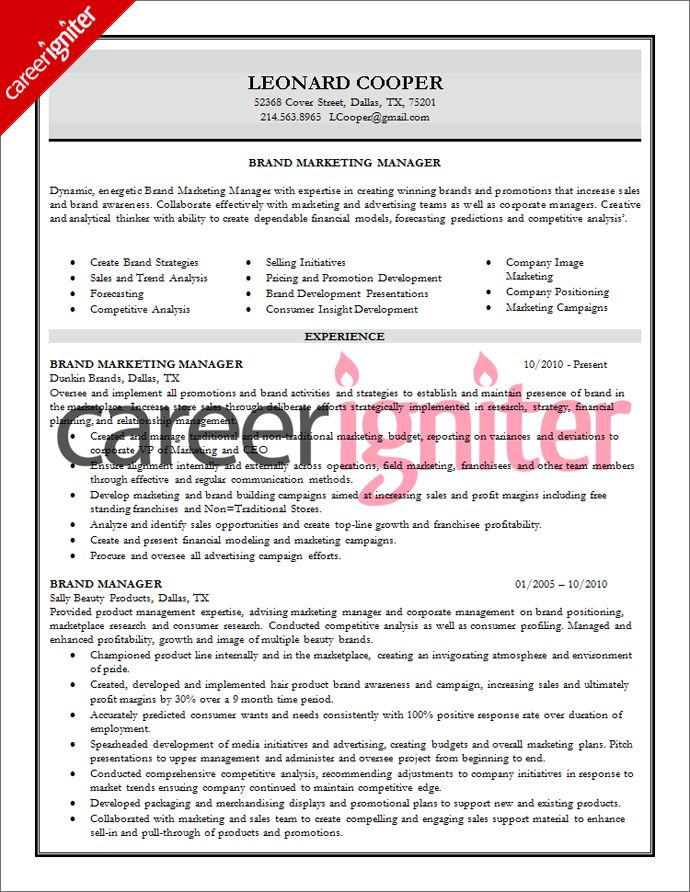 Brand Manager Resume Sample Resume Pinterest Resume - sample competitive analysis