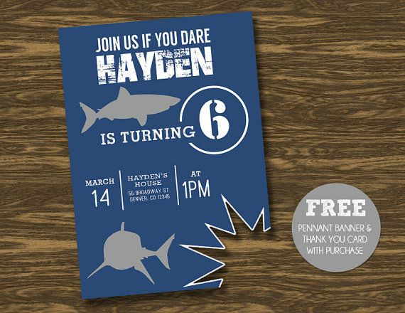Shark Birthday Invitation - Printable - FREE pennant banner and thank you card with purchase