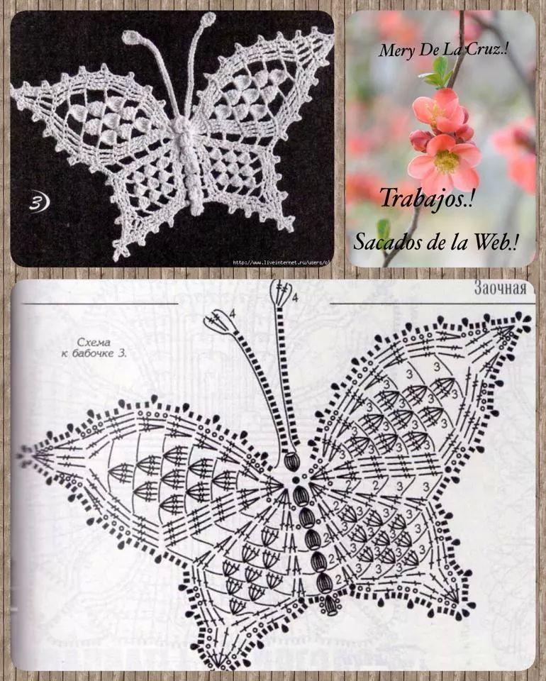 Mariposa crochet patron Butterfly | Crafts & Hobbies | Pinterest ...