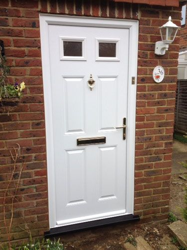 4 Panel 2 Square Glazed Composite Front Door in White | Composite ...