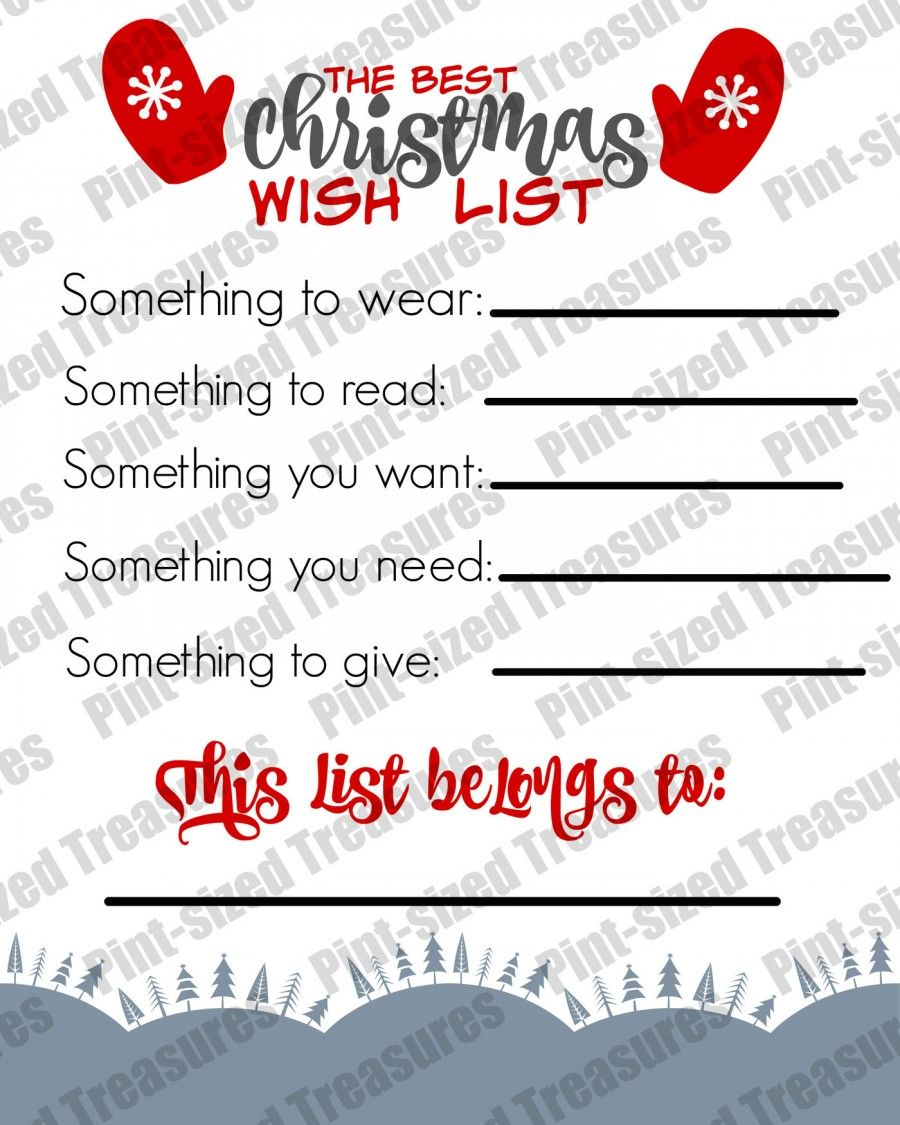 The Best (Printable) Christmas Wish List For Kids | Ultimate ...