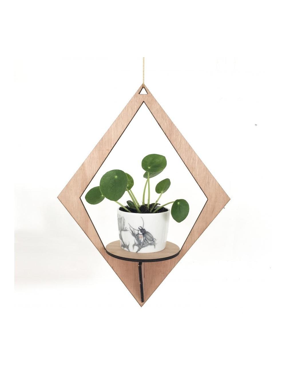 Cadeaux de Noel : 15 objets de déco éco-friendly. Pour faire plaisir à nos deco-lovers ! Focus : suspension en bois, plante, losange, pot blanc, fond  blanc. #AllThingsWeLike #bois #suspension #wood #plante  #minimaliste #gifts #deco #decolovers #cadeaux #christmas #christmasishere #Xmas #liste #ecofriendly #ecology