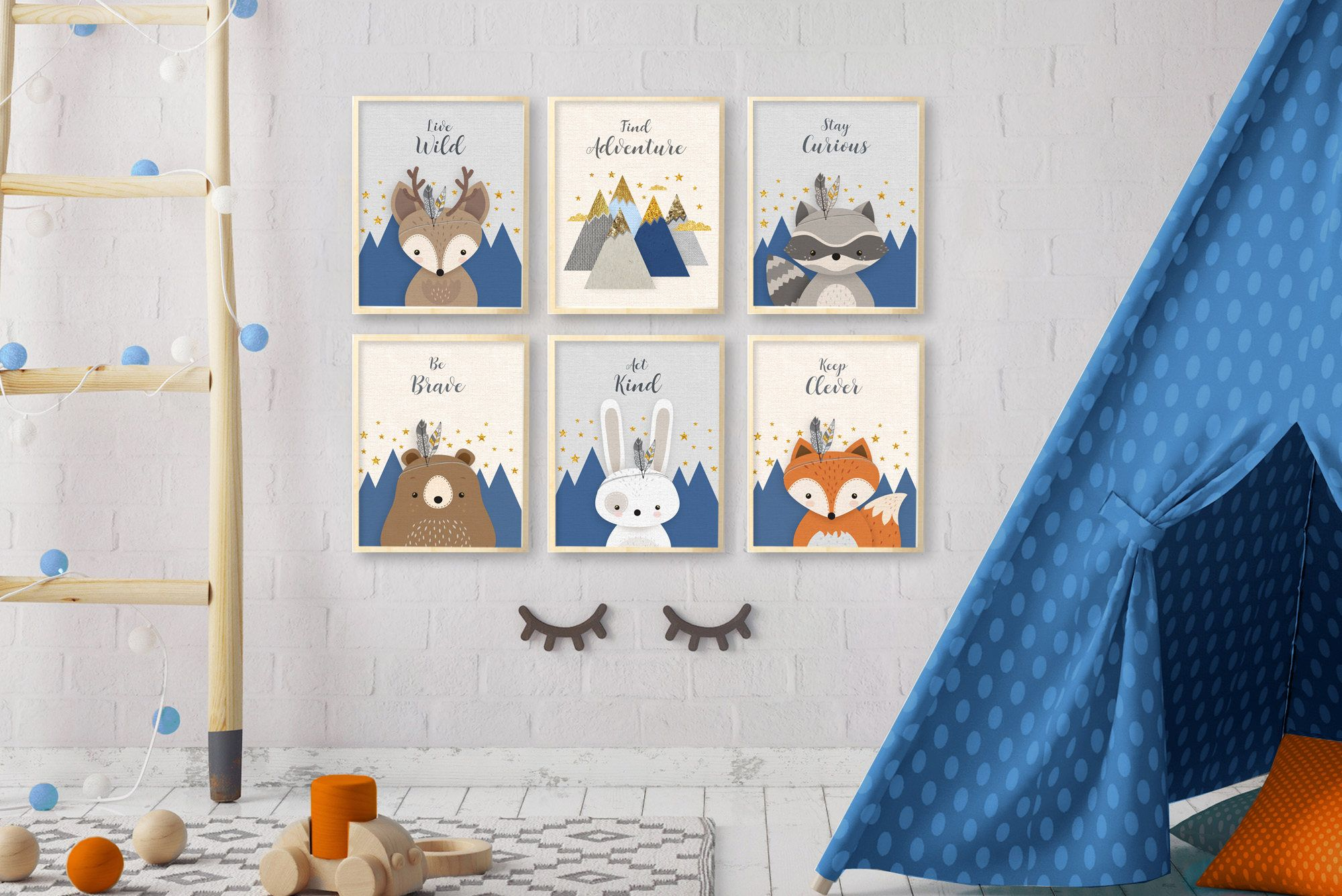Forest Friends Print Set Of 6 Baby Animal Print Nursery