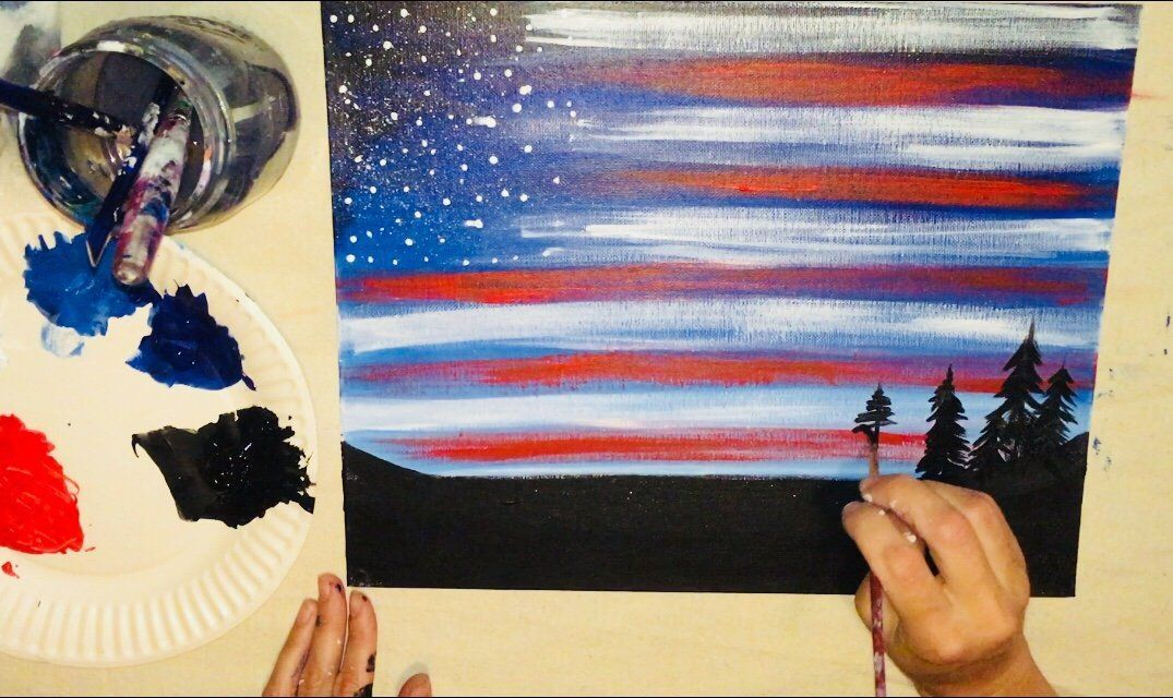 How To Paint American Flag Sky is part of American flag painting, Step by step painting, Flag painting, Drawing sky, Painting, Acrylic painting canvas - How To Paint American Flag Sky Learn how to do this very simple yet stunning American Flag Sky with acrylic paint on canvas  You'll learn how to do a forest skyline silhouette backed by a twilight or dawn sky and a dry brushed US flag illusion! This painting tutorial is     Read moreHow To Paint American Flag Sky