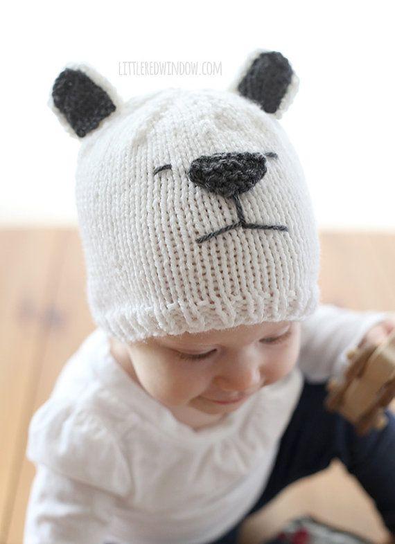 Little Polar Bear Hat KNITTING PATTERN Winter bear knit hat | theo ...
