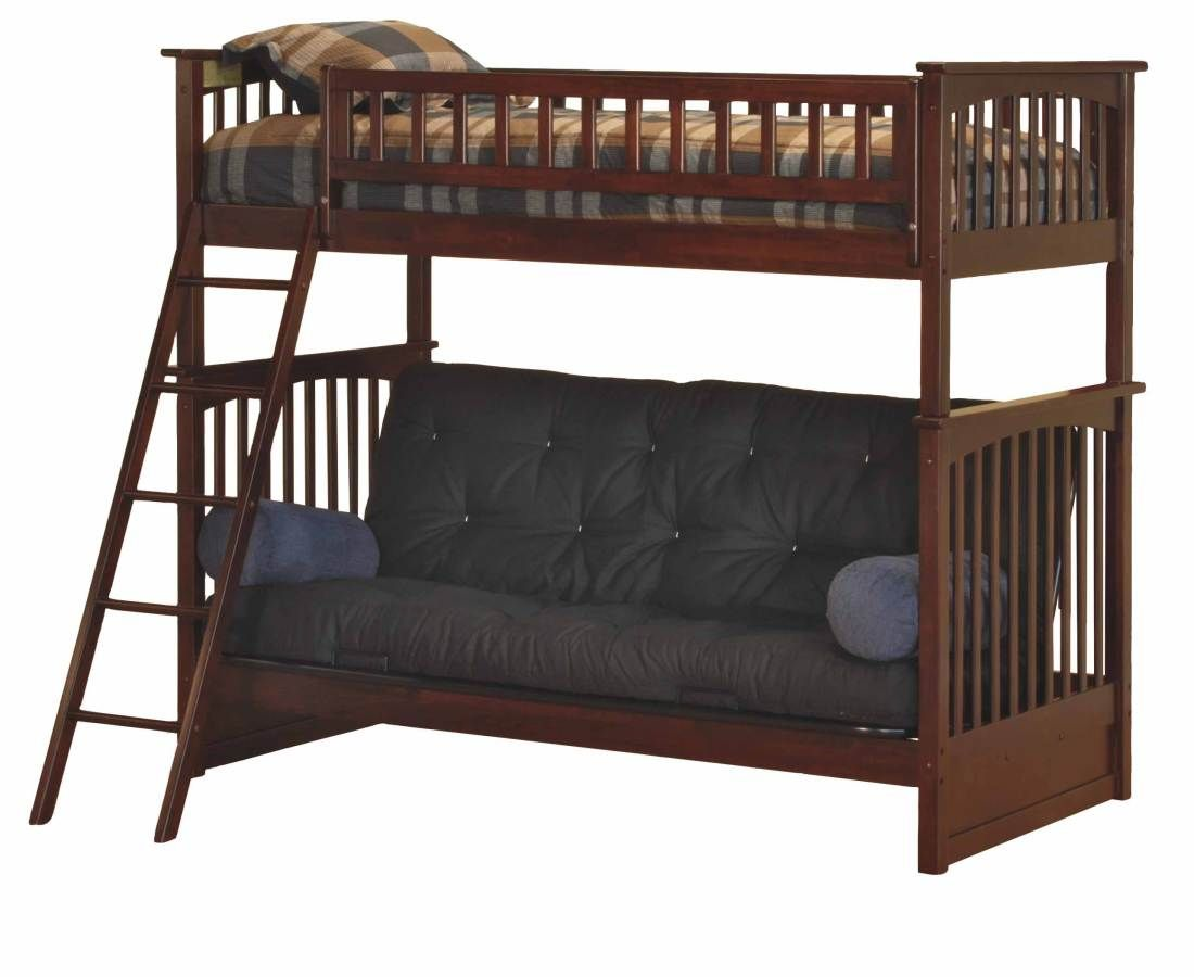 Antique Walnut Columbia Bunk Bed Twin Full Futon Ab55404 Futon Bunk Bed Cool Bunk Beds Futon Living Room