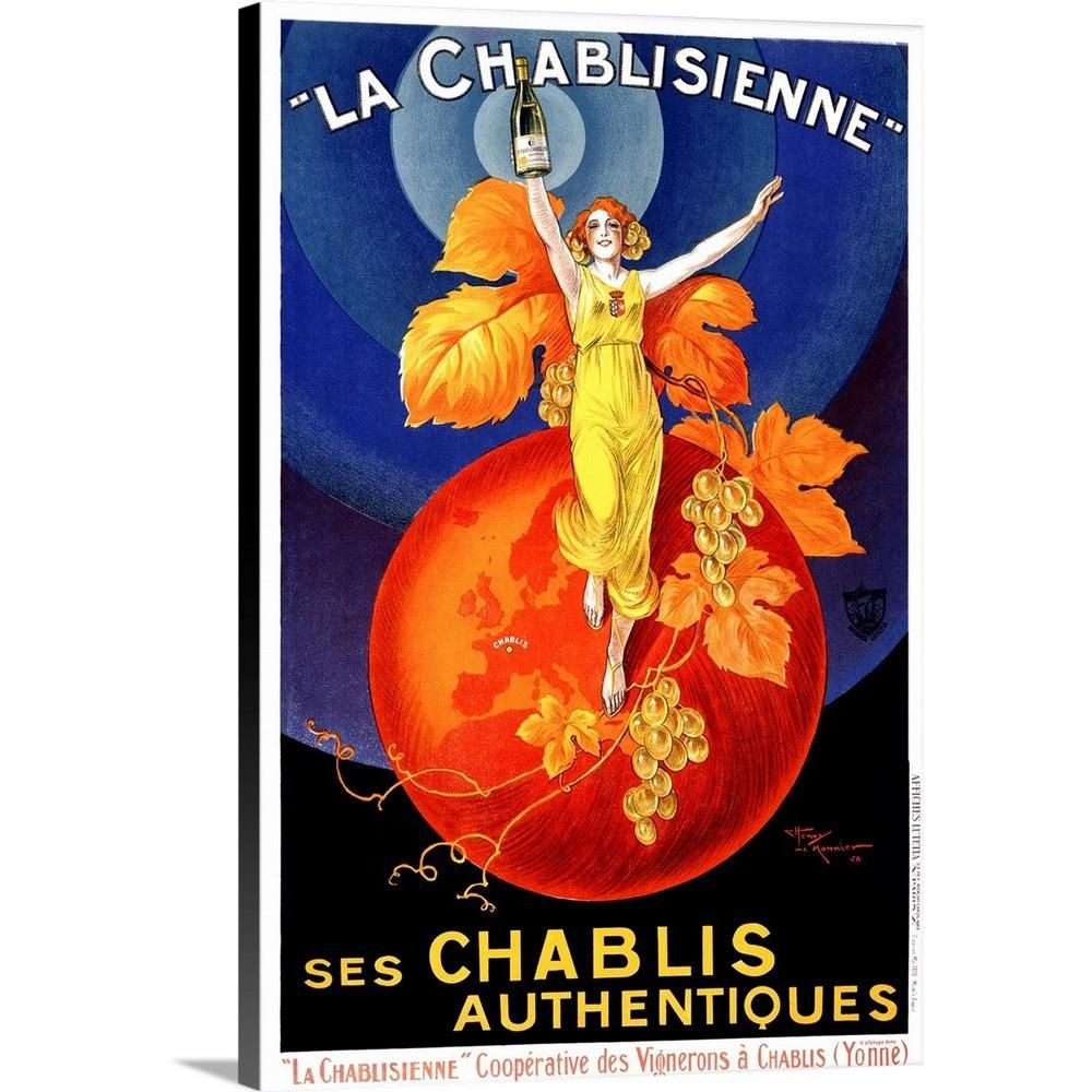 Greatbigcanvas Chablisienne Chablis Wine Vintage Advertising Poster By Artehouse Canvas Wall Art Multi Colo Wine Wall Art Vintage Poster Art Canvas Wall Art