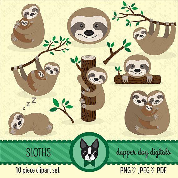 Sloths Clipart Set Commercial Use Vector Images Digital Clip