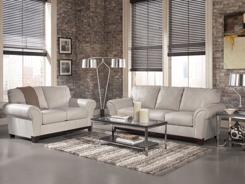 DARBY CONTEMPORARY GRAY GENUINE LEATHER SOFA COUCH SET LIVING ROOM NEW  FURNITURE #Modern
