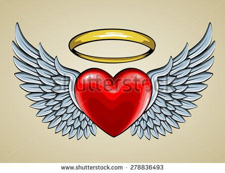 Red Heart With Angel Wings And Halo Angel Wings Pinterest