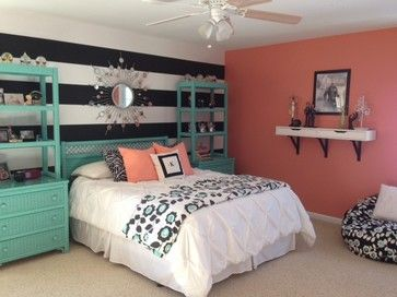 Teal and Coral Bedroom | Girl\'s Teal & Coral Bedroom transitional ...