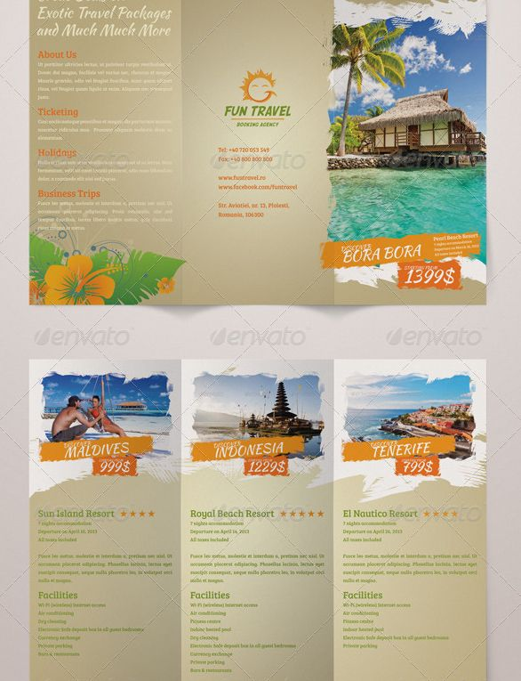 Fun Travel Trifold Brochure Flyer Inspiration Pinterest