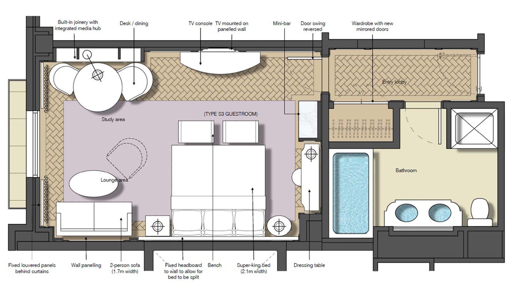 guestrooms with sofa beds floor plan Sydney Luxury