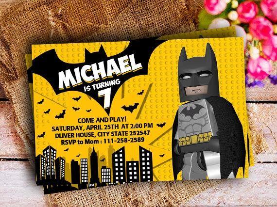 Lego Batman Invitaciones Invitación Del Cumpleaños De Lego