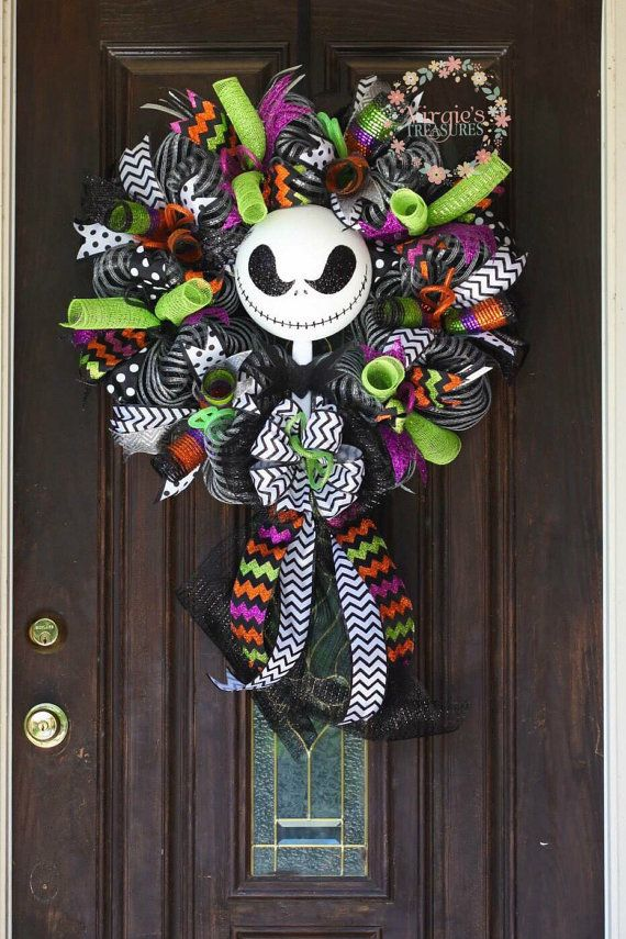 skellington wreath wreath by virgiestreasures