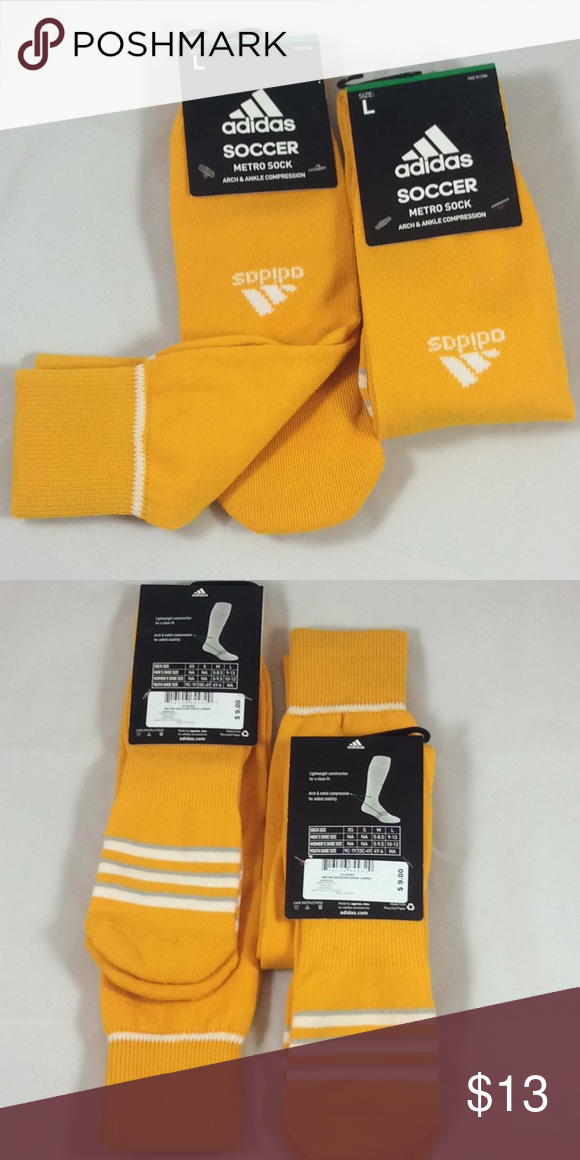 9dbffa6192b7 Adidas Metro Soccer Sock Adidas Metro soccer sock. Arch and ankle  compression. Lightweight construction. 93% Polyester 3% Nylon 2% Spandex 2%  Natural Latex.