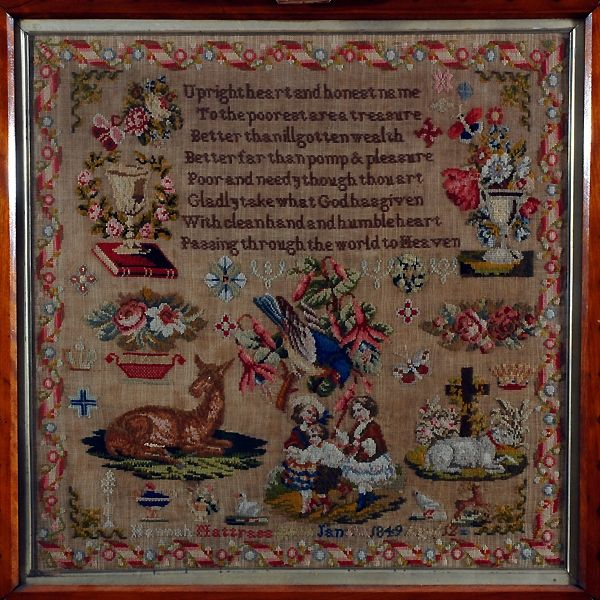A Wonderful 19th Century English Sampler Stitched By Hannah Nattrass & Dated 1849