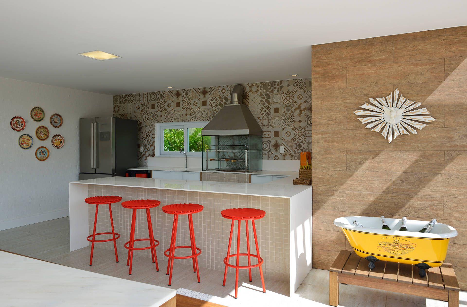 Espaço gourmet : Balcone, Veranda & Terrazza in stile moderno di Pinheiro Martinez Arquitetura