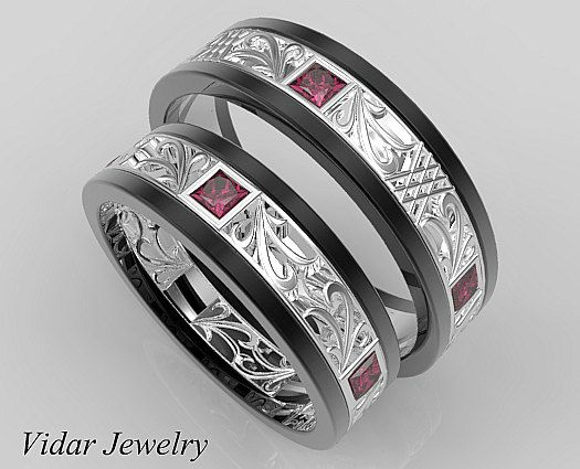6c90daa6671a7 Matching Wedding Band Set,His and Hers Ruby Wedding Band Set,Unique ...