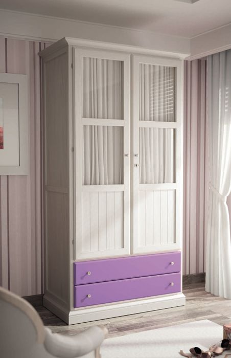 Armario clásico 2 puertas en color blanco con cajones en color lila ...