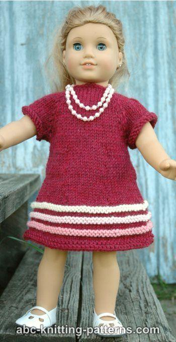 Free Pattern Knit 18 Inch Doll American Girl Raglan Banded Dress