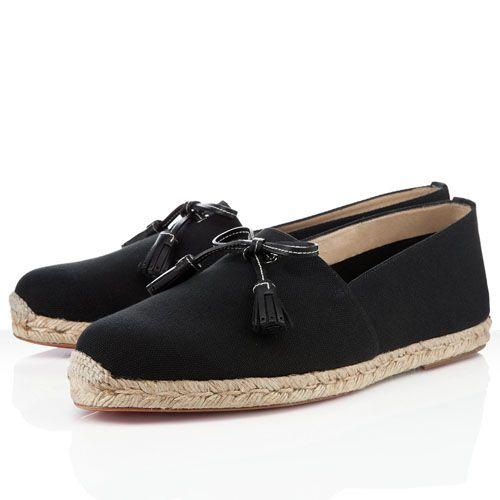 Christian Louboutin Papiounet Men's Flat Cotton Sneakers Black $113.99
