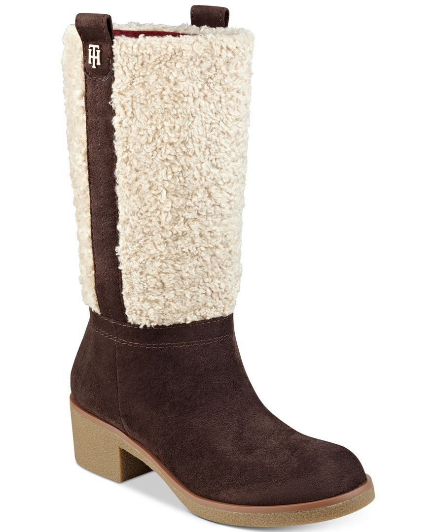 Women/'s Shoes Tommy Hilfiger DRAMA Short Boots Faux Shearling Suede Black