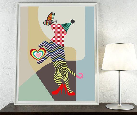 Funny Dog Art, Dog Lover Gift, Dog Love, Dog Pop Art, Dog Poster, Dog Art Print Picture, Funny Animal Lover Gift, Animal Art Print, Colouful