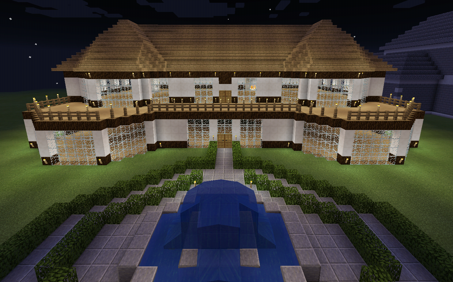 Minecraft Realistic House With Balcony Deck Wood House With Balcony Minecraft House Designs Balcony Deck