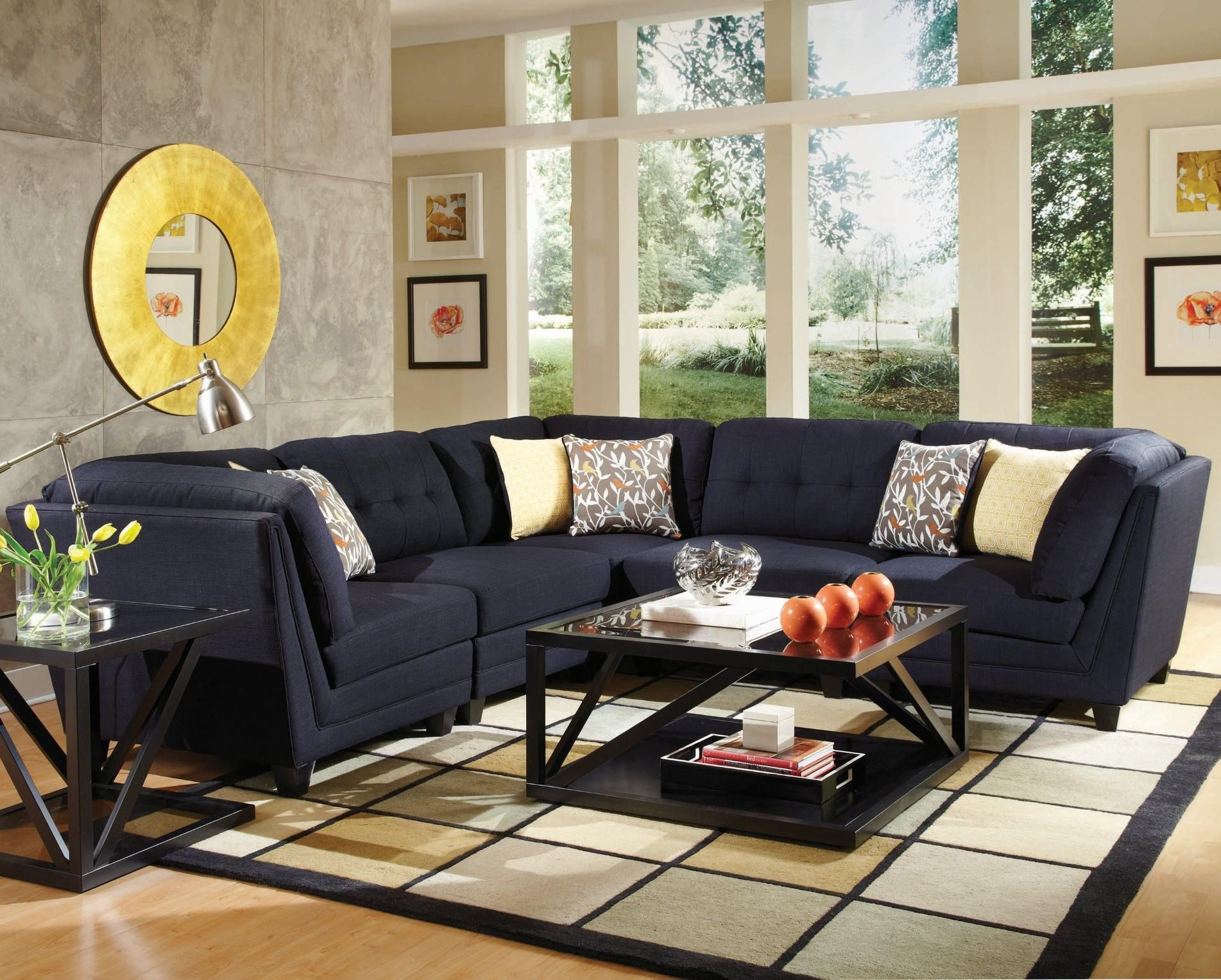 Keaton Transitional Five Piece Sectional Sofa with Tufting by