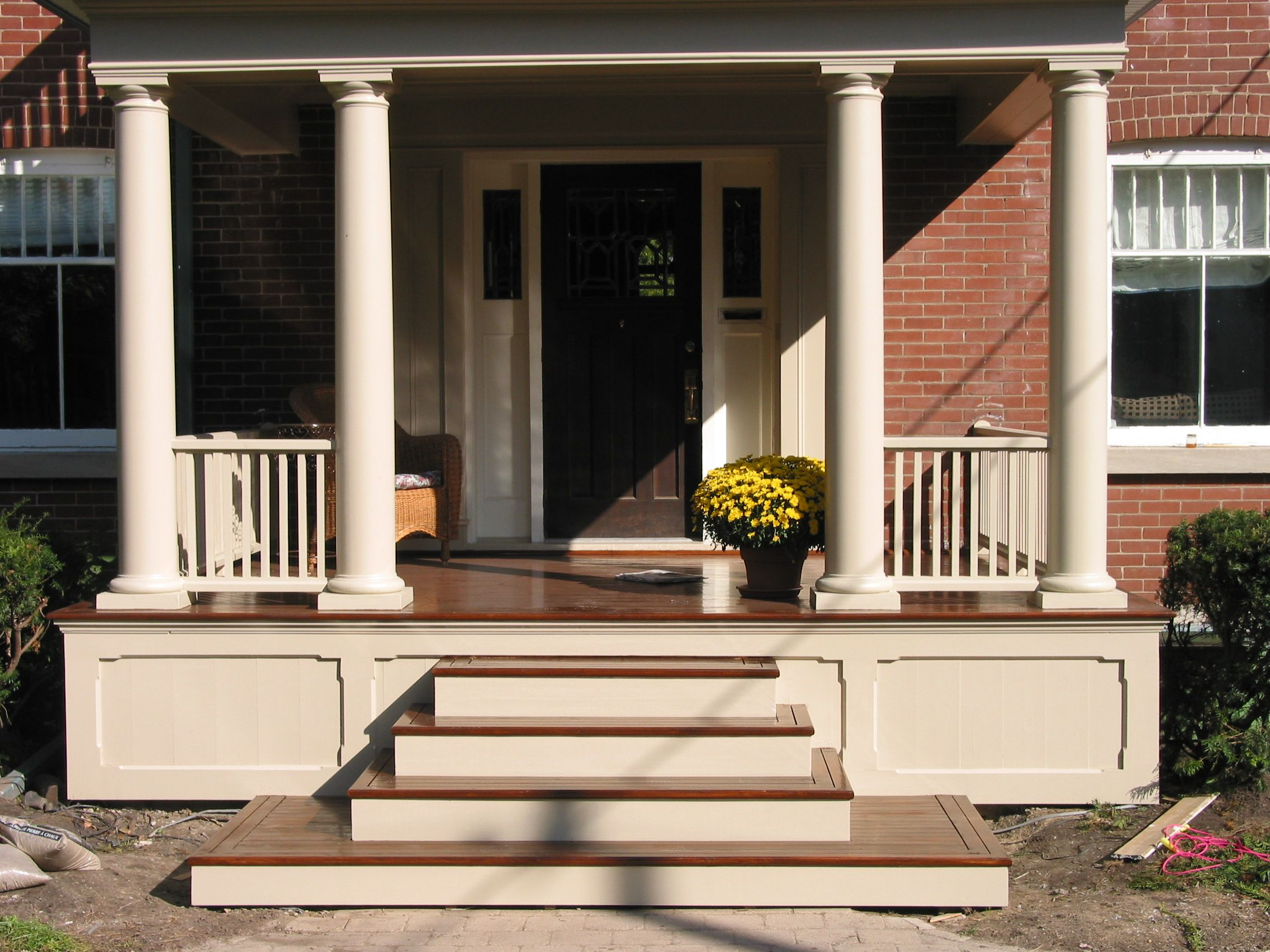 Non lattice underskirting porch ideas pinterest a for Wooden front porch designs