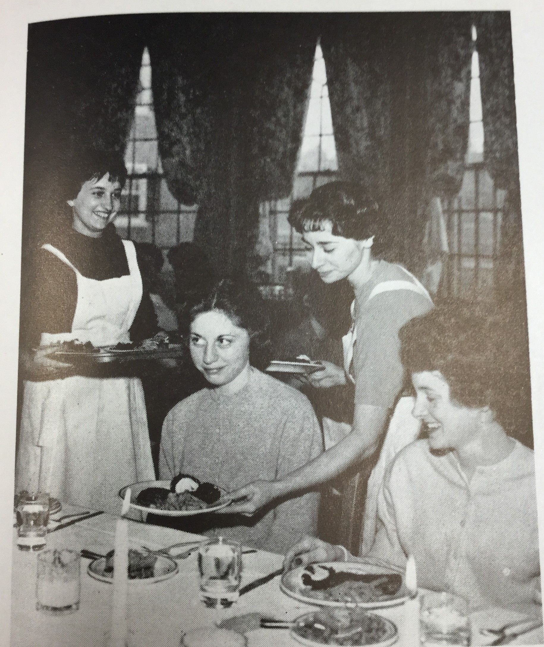 Waitresses in the women's residence halls serve food at the tables to alleviate. While breakfast and lunch changed its style, dinner in Miami kept table-service.