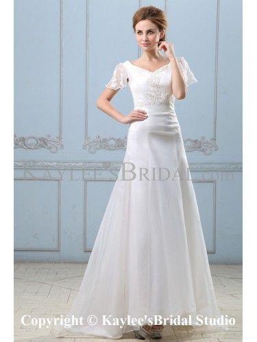 Satin Organza V-Neckline Sweep Train A-Line Wedding Dress with ...