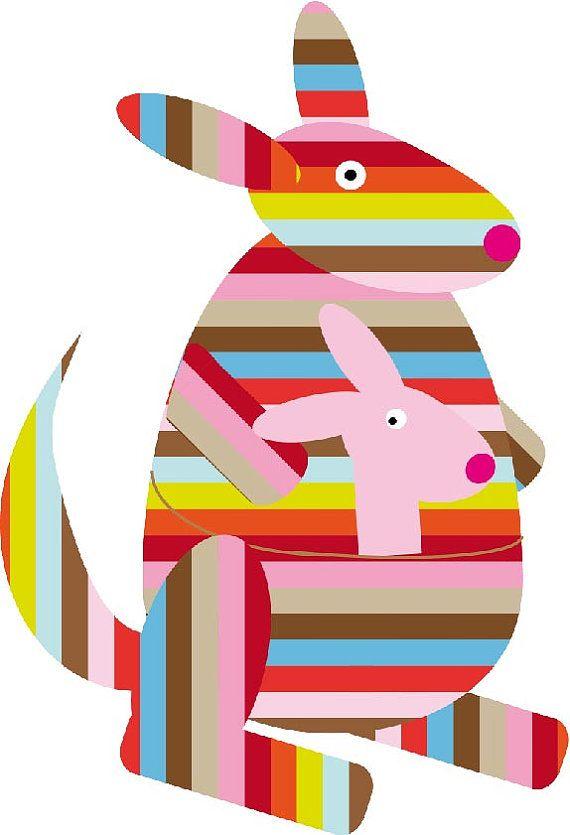 Kangaroo on canvas, kangoeroe op canvas,  illustratie kangoeroe, print kangaroo…