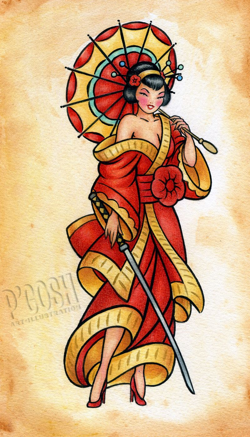 Geisha Tattoo Flash Traditional Tattoos Traditional Tattoo Art