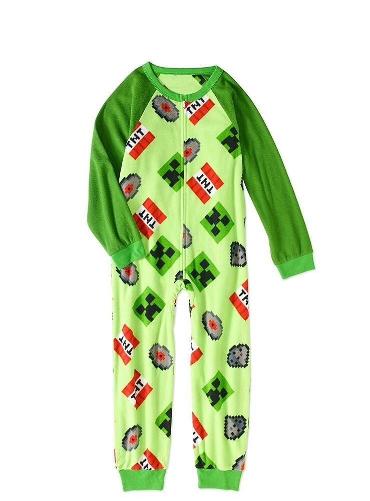 MINECRAFT Pajama Size 8,10 Medium-Large Boy One Piece Union Suit Creeper Costume