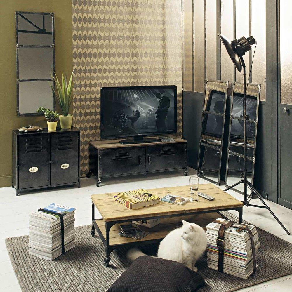 Miroir En M Tal Effet Rouille H 120 Cm Maison Du Monde Table  # Meuble Tv Miroir