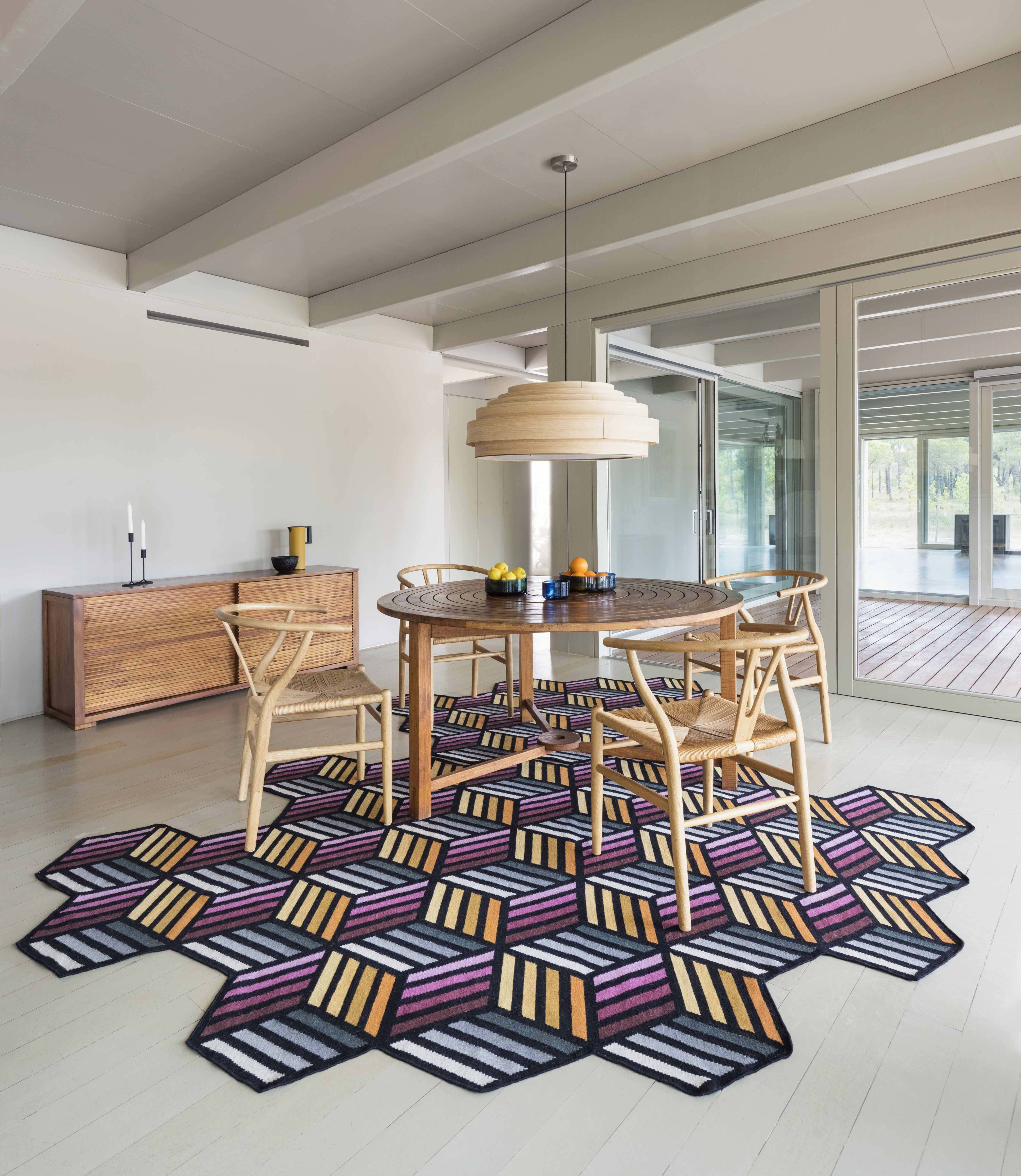 Hexagon By gan, wool rug with geometric shapes design FRONT, parquet  Collection