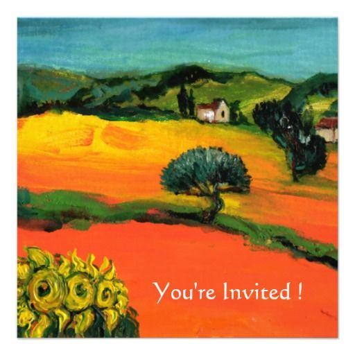 TUSCANY LANDSCAPE WITH SUNFLOWERS orange  black Personalized Invite