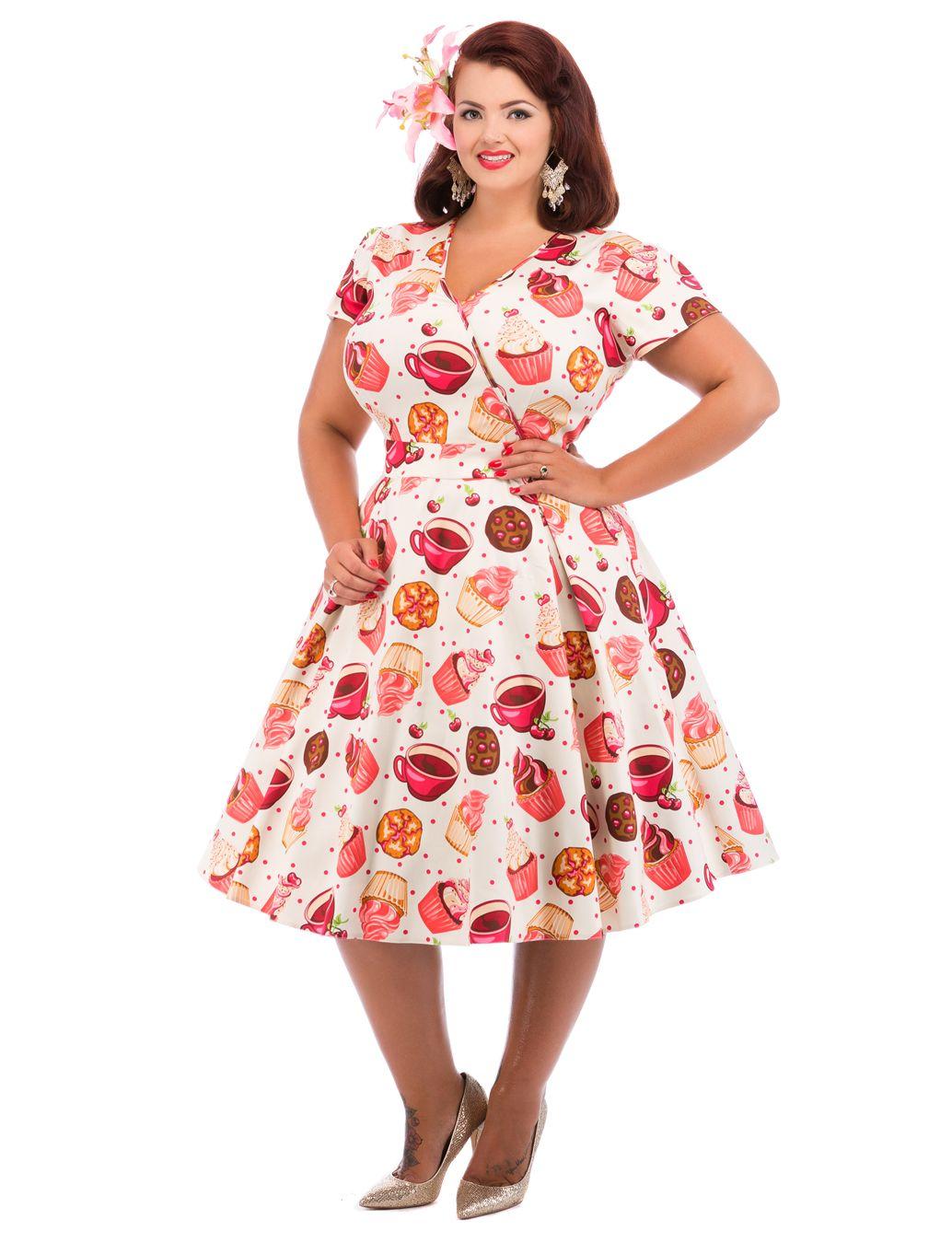 Cream Cupcake Print Estella Dress : Lady Voluptuous | Curvy ...