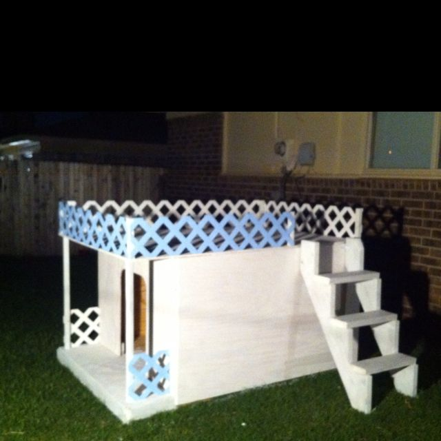 The Diy Two Story Dog House Inspired By Pinterest Cool Dog