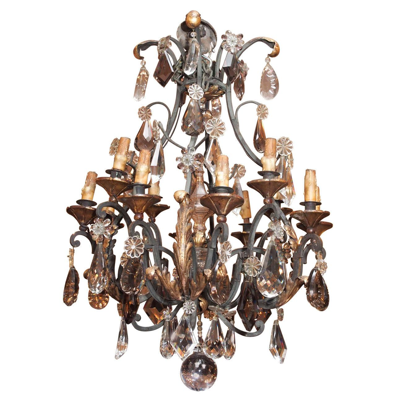 Antique French Wrought Iron Heavy Baccarat Crystal Chandelier Circa 1840 1860