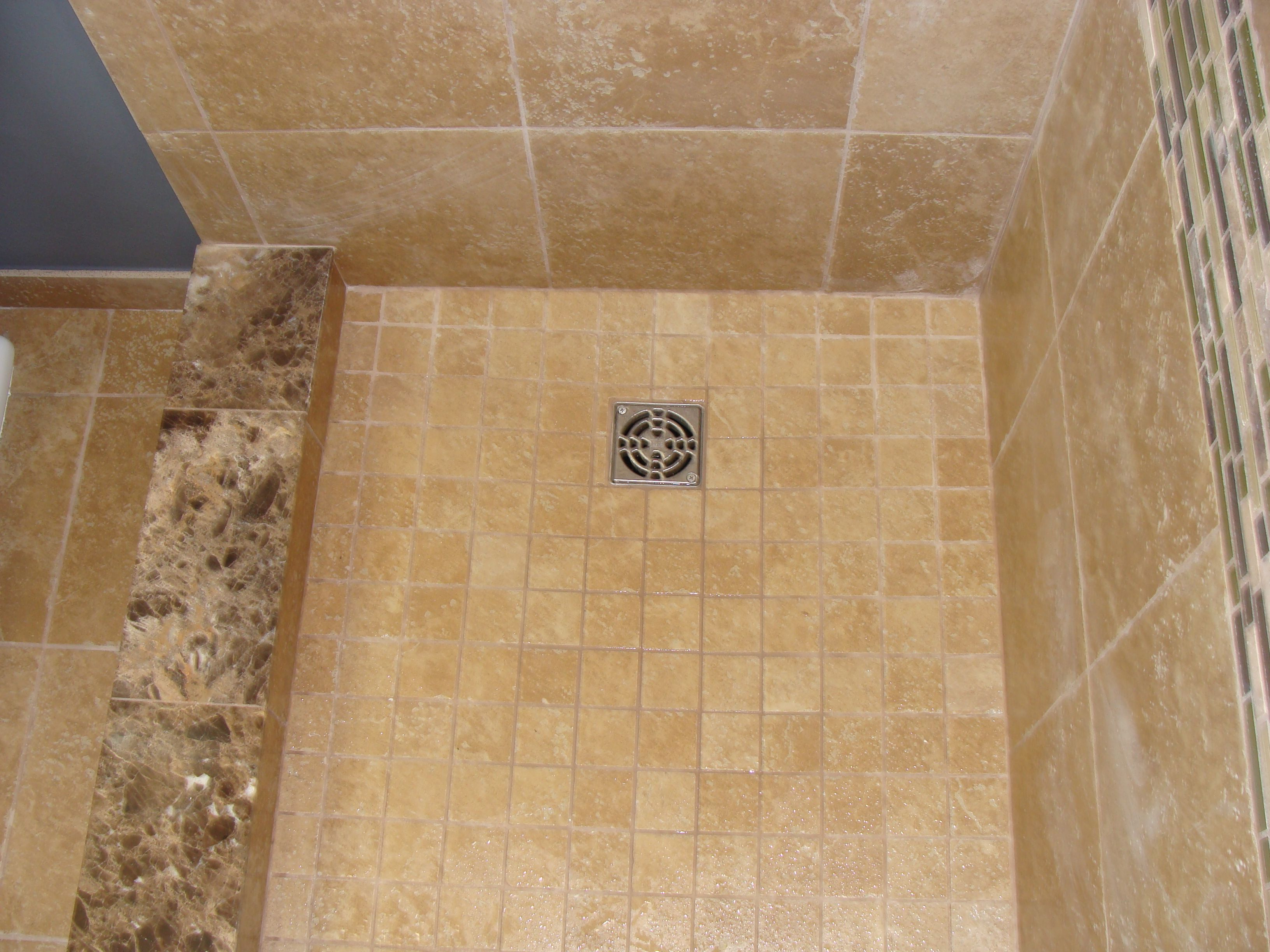 Mosaic Tile Shower: Marble Shower Curb Mosaic Tile Shower Pan