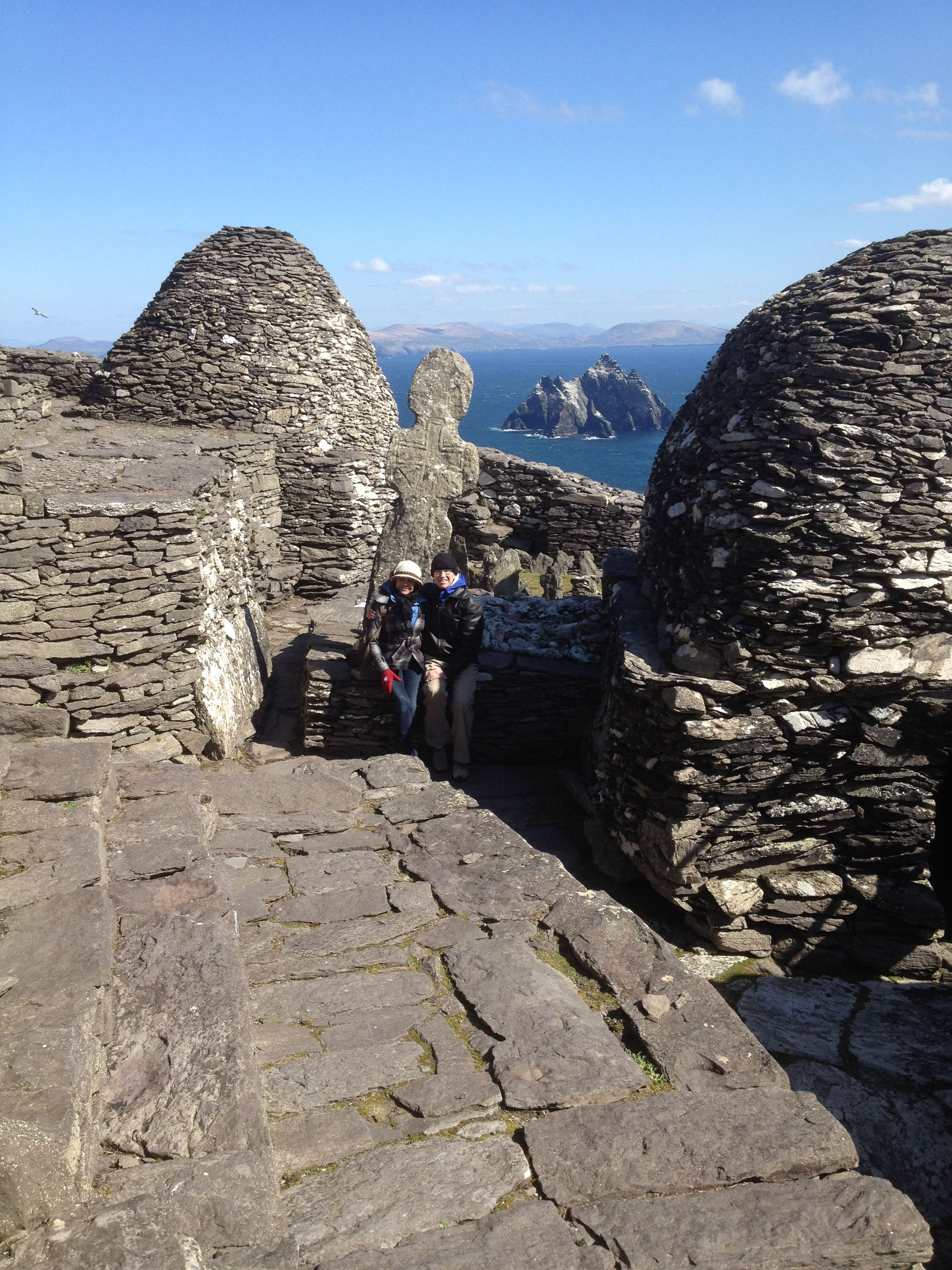This remote island, Skellig Michael, is a World Heritage site about 6 miles off the coast of Ireland. It held a monastery of 6th century monks. They lived in total isolation in beehive-shaped huts.