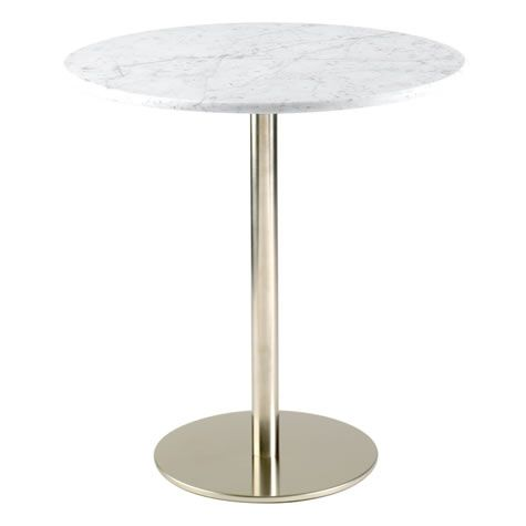 Osling Round Marble Dining Kitchen Table Stainless Steel Frame