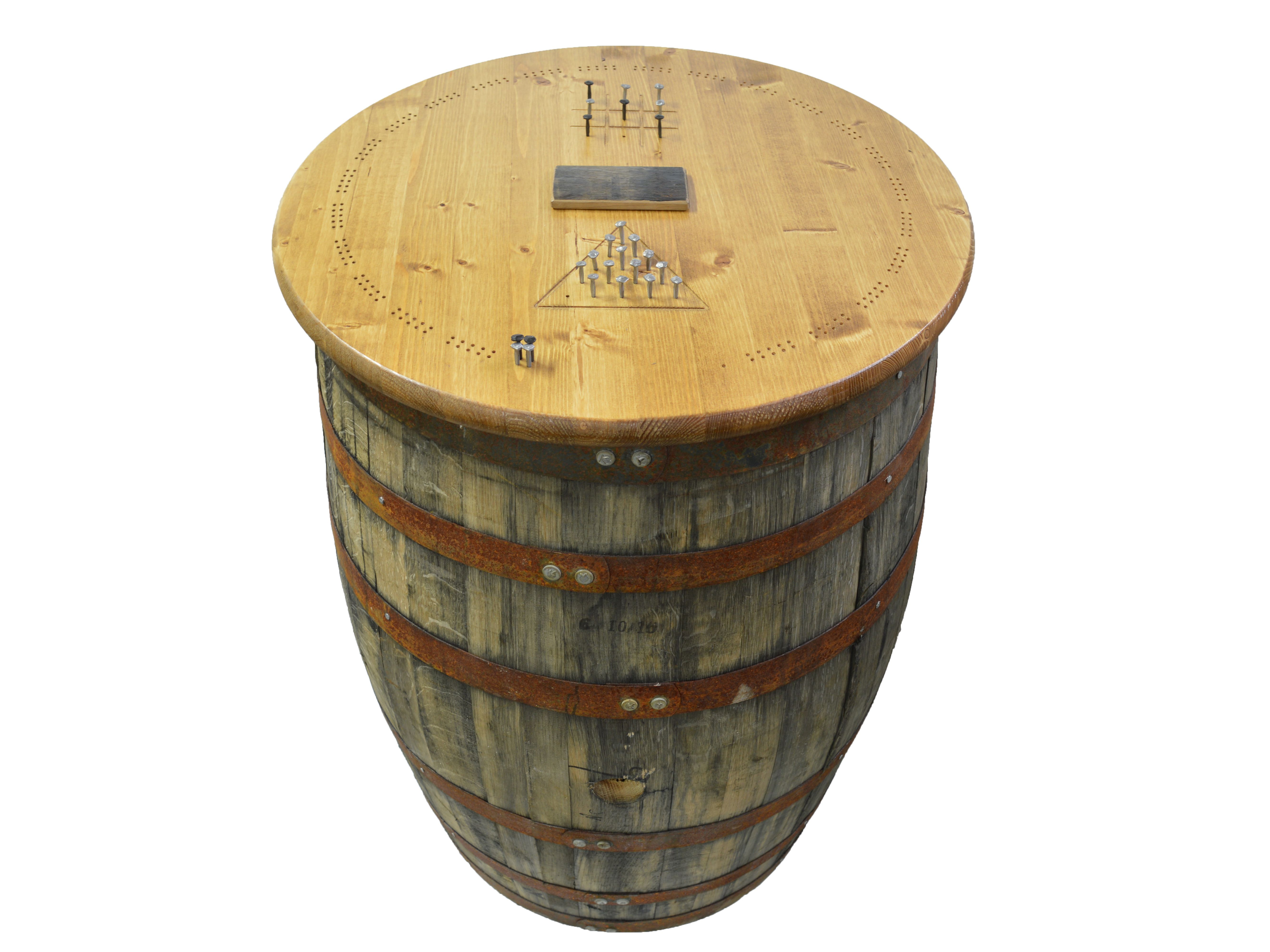 Custom Whiskey Barrel With Game Board Top For A Local Charity
