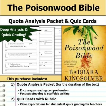 The Poisonwood Bible Quote Analysi Reading Quizze Book Study Focu Studying Essay Guide Question And Answer Ap Literature Sample