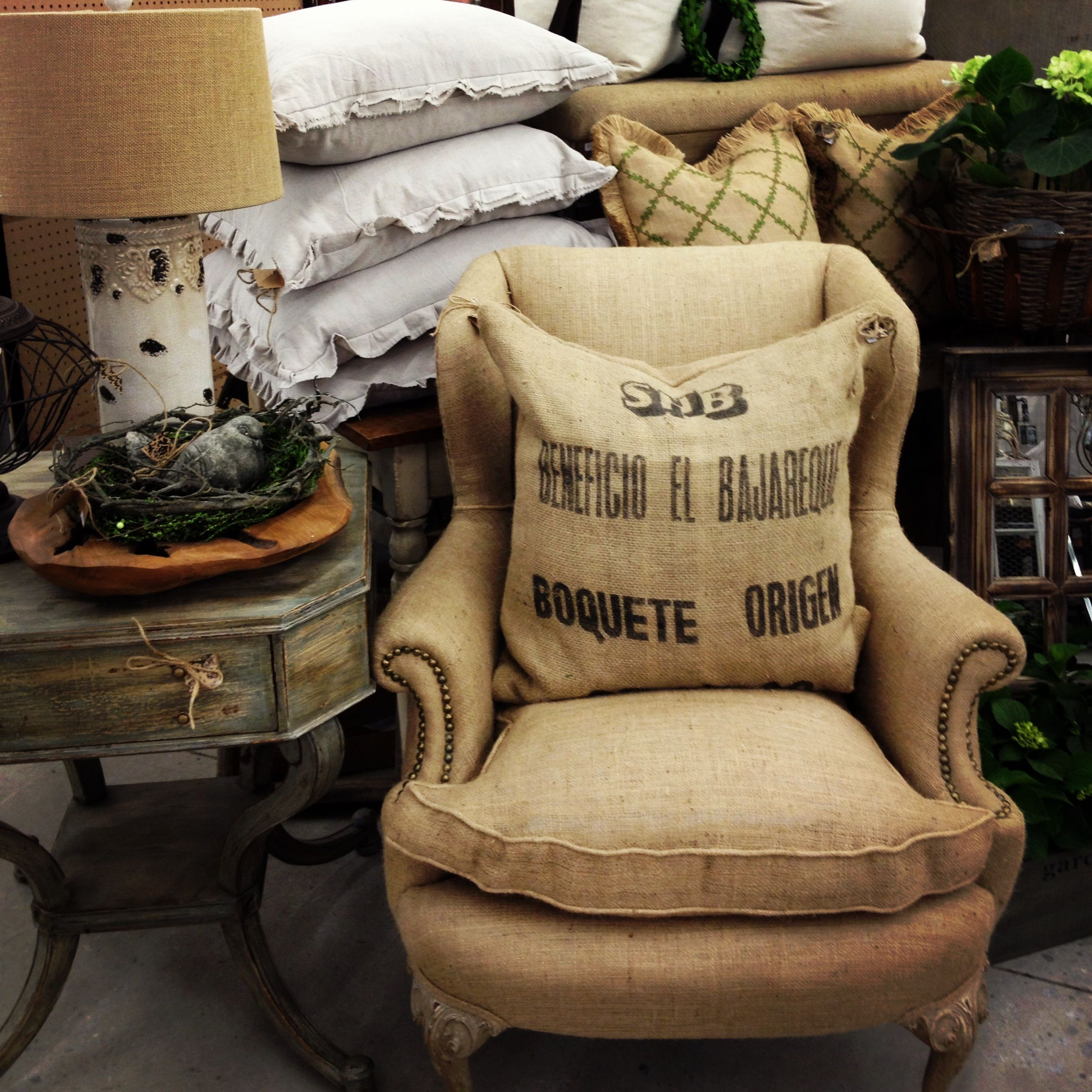 Burlap Wingback Chair, Painted Side Table, Pillows