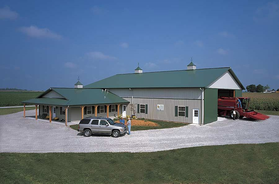 Agri business farm office with machine shed frankfort for Barn home builders indiana